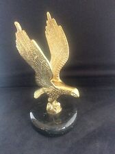Good Quality Vintage Solid Brass Eagle Paperweight Polished Serpentine Stone 2