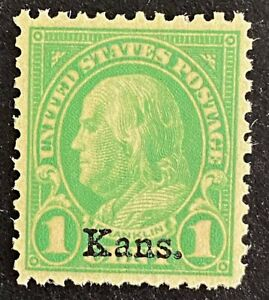 US Stamp, Scott #658 1c Franklin 1929 Kansas overprint 2012 PSAG GC XF 90 M/NH