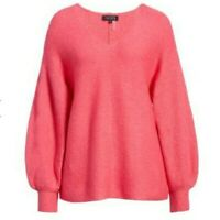 NWT 1.State Women's Blouson Sleeve V-Neck Sweater Pink Size S