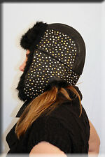 New Beaded Black Leather Trooper Aviator Hat Rabbit Fur Trim
