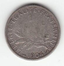 MONNAIE 1  FRANC  SEMEUSE  EN ARGENT  1904  SYLVER COIN