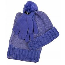 New Berkshire Girls 3PC Knitted Hat Scarf & Gloves Set Purple One Size