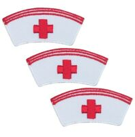 "Nurse Applique Patch - Red Cross, Hospital, Medical Badge 2"" (3-Pack, Iron on)"
