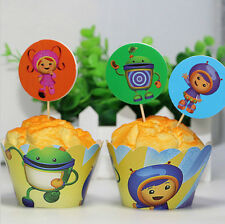 12x TEAM UMIZOOMI Children Birthday Cupcake Cake Wrapper & Toppers *NEW*