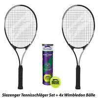 Slazenger Tennisschläger Set + Wimbledon Tennis Bälle Racket + Balls L1 L2 L3 L4