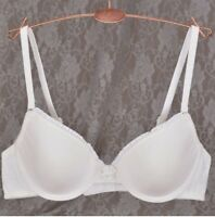 Cotton Womens solid Underwire Non Padded 3/4 Cup Deep V Bra 34 36 38 40 B C D