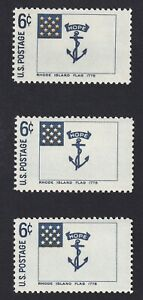 """COLOR SHIFT ERROR - Scott #1349 Historic Flags - """"Disappearing"""" Stars - set of 3"""