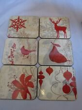 "6 x Vintage Jason Christmas Holiday Coasters Org Box- New Zealand ~3.75"" x 4.5"""