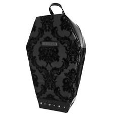Rock Rebel Damask Velvet Coffin Backpack Black Matte Horror Halloween Punk Goth