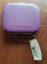 BATH AND BODY WORKS LEATHER COMPACT POCKET DUAL MIRROR-PURPLE