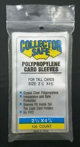100 Count Polypropylene Card Sleeve For Tall Cards Size 2.5 x 4.76