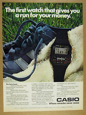 1981 Casio the Coach Digital Watch photo jogging pace runner vintage print Ad