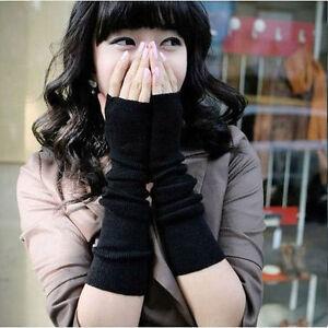 Women Cute Black Stretchy Arm Warmers Long Fingerless Gloves Fashion Mittens