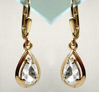 ECHT GOLD  💧 Zirkonia Tropfen Ohrringe Ohrhänger 28 mm