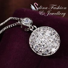 DIAMOND ACCENT CLUSTER PENDANT GOLD PLATED NECKLACE BNIB!!!