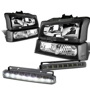 BLACK HEADLIGHT+CLEAR CORNER+BUMPER+LED FOG LIGHT SET FOR 03-07 CHEVY SILVERADO