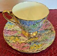 "SHELLEY ENGLAND #13385/52S ROCK GARDEN FLORAL GOLD TRIM 2 3.4"" CUP & 5.5 SAUCER"