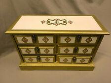 3213M Vtg 70's Dresser Top Large Jewel Box/Chest Gold Wood w/Drawers Music Box