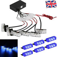 6Pcs Car Truck Hazard Vehicle Police Grill Lights Strobe Flash Lamp Blue DC 12V
