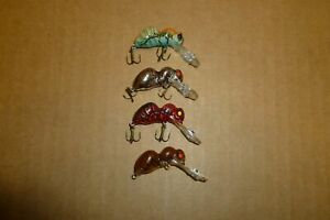LOT OF 4 REBEL MODEL F45 BIG ANT TINY UNUSED FISHING LURES IN VARIOUS COLORS