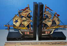 Vintage Sailing Bookends Decor Office Library Ship Model Wood English crest?