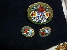 Antique Italian Mosaic Brooch & Earrings Vintage flowers Micro  Mosaic