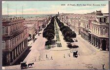 VINTAGE 1900'S EL PRADO HAVANA CUBA STREET VIEW HORSES OLD CUBAN LITHO POSTCARD