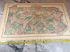 """1877 Large Colored Antique Map of Pennsylvania 28"""" x 17"""""""