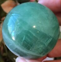 179g GREEN FLUORITE POLISHED CRYSTAL GEMSTONE SPHERE / ORB (4.7cm) WITH EYE