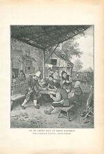 Jeu de Cartes Jardin d'Auberge de Adriaen van Ostade GRAVURE ANTIQUE PRINT 1913