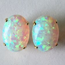 New 14k Solid Yellow Gold Y/G Topaz Earrings Oval, 10*14mm, P067012