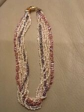 7 Rows multicolor freshwater pearl necklace with 18k clasp