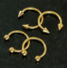 2 Pairs Gold IP Ball and Spike Horseshoe Barbells Septum Lip Nipple Rings 14G