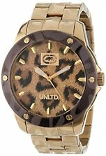 MARC ECKO UNLTD GOLD TONE,LEOPARD,THE LYNX THREE HAND BRACELET WATCH-E16517G1