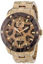 Marc Ecko Unltd Gold Tone Leopard The Lynx Three Hand Bracelet Watch-e16517g1