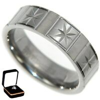 TITANIUM *STAR WEDDING RING BAND COMFORT FIT w/VELVET RING BOX size 8,9,10,11,12