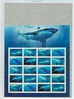 USPS Sealed. Sharks Souvenir Sheet of 20 Forever Stamps. Great White Hammerhead.