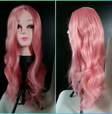 "24"" wavy Pastel Pink cosplay wig    (long/fancy/dress/light/hot/hair/anime)"