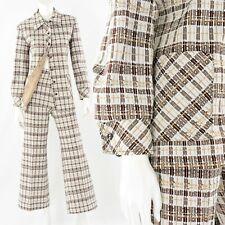 70s Vintage Brown Geometric Print High Waist Flare Leg Pant Suit Womens L Disco