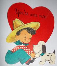 Vtg 1950s Farm Boy Cowboy Puppy Heart Hallmark Children's Valentine's Day Card