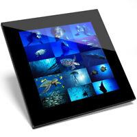 1 x Marine Life Underwater Collage Glass Coaster - Kitchen Student Gift #8936