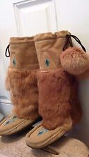 Mukluk Boots, Hand Made Tan Suede Shearling Lined Rabbit Fur - Beading Size 8-9