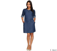 Kelly by Clinton Kelly Denim Dress with Roll Tab Sleeves Dark Rinse Color Size 8