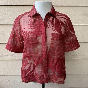 Anthropologie Maeve Sun Palm Midi Top Buttondown Shirt Women Short Sleeve 4