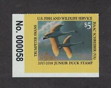 JDS25 - Junior Federal Duck Stamp. Plate Numbered Single MNH. OG. #02 JDS25PNSBL