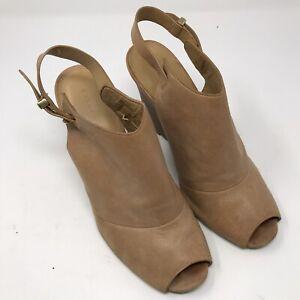 Coach Lindsay Peep Toe Leather Wedges Heels beige Size 10 B