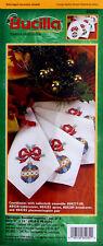 Bucilla Christmas Baubles Stamped Cross Stitch Napkins #84282 Set of 4, No Floss