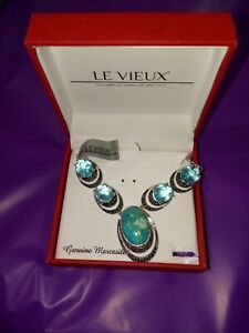 LE VIEUX Turquoise Cabochon NECKLACE SWAROVSKI MARCASITE in org box SILVER PLATE