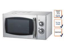 Profi Edelstahl Mikrowelle mit Grill, 900W, 23 Liter, Mikrowelle Microwelle