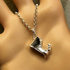 SILVER second hand mouse on old boot pendant & chain